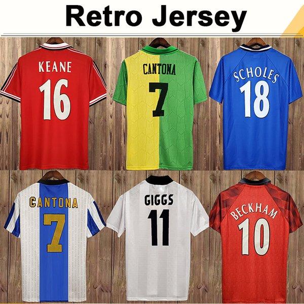 best selling 92 98 Mens CANTONA GIGGS KEANE RETRO Soccer Jerseys BECKHAM SOLSKJAER SCHOLES FERDINAND ROONEY CHICHARITO Home Away Football Shirt Uniforms