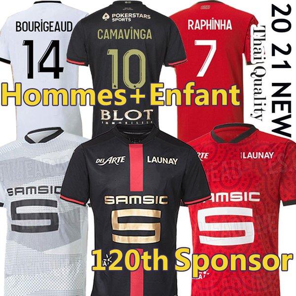 best selling Stade Rennais soccer jerseys Rennes 120th Anniversary maillot de foot 2020 2021 CAMAVINGA BOURIGEAUD NIANG DOKU HUNOU Men+kids kits football