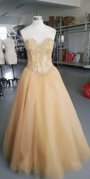 top popular 2021 Real pics Aline Sweetheart Pearls Evening Dress Zipper Tulle Formal Pageant Prom Custom Made Party Wear 2021