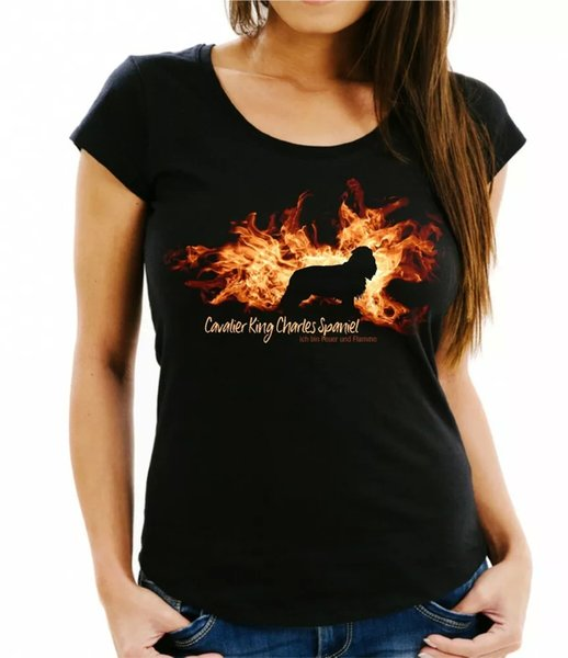 Ladies T-Shirt Cavalier King Charles Spaniel fire and flame by siviwonder Dogs