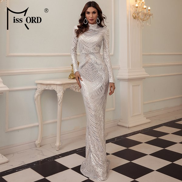 Missord 2021 Women Autumn Winter Elegant High Neck Sequin Dress Long Sleeve Maxi Bodycon Dress Female Evening Party Dress M0649