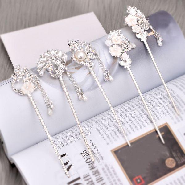 Vintage Metal Hair Stick Pick Rhinestone Chinese Style Chopsticks Charm Hair pin Women Hairpins Wedding Hair Jewelry Accessories