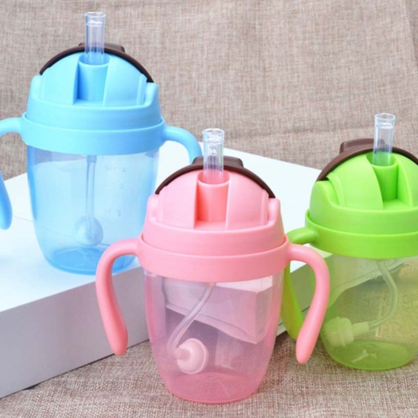 300ml Cute Newborn Baby Cup Children Learn Feeding Drinking Water Straw Handle Bottle Training Cup Baby Feeding Cup