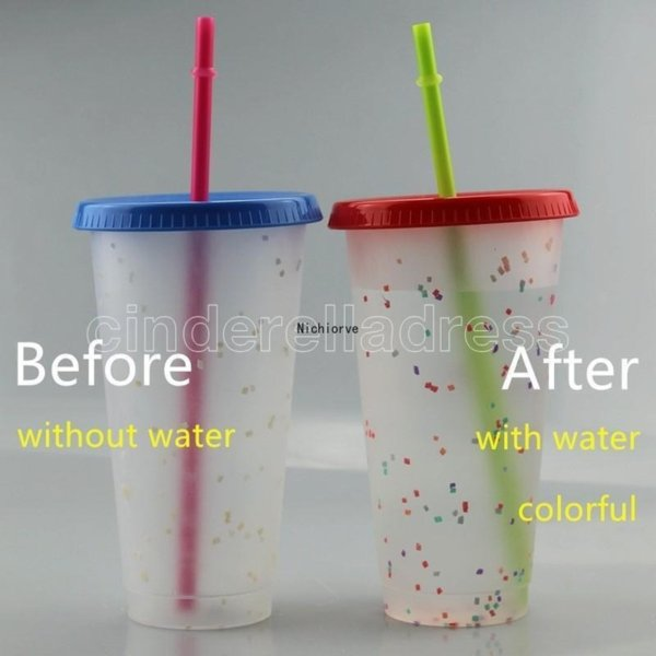 710ml Color Changing CupThermochromic Cup Plastic Drinking Tumblers Color Change PP with Lid and Straw 5 pcs/ set ship by sea FY4496