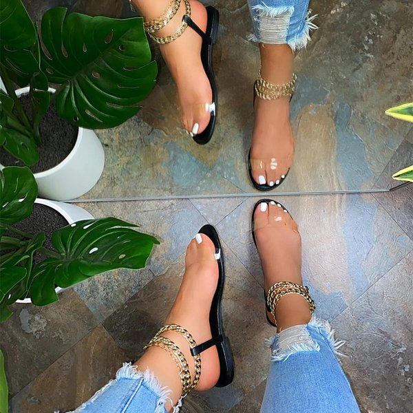 2021 Womens Sexy Sandals Summer Shoes Transparent Metal Chain Ladies Flat Sexy Women Casual Comfortable Shoe Female New
