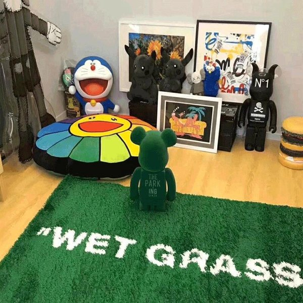 best selling Home WET GRASS Carpet Wet Grass Green Trend Home Plush Floor Furnishings Trendy Ki x vg Joint MaRkeRAd Plush Floor Mat Parlor Bedroom Large Rugs