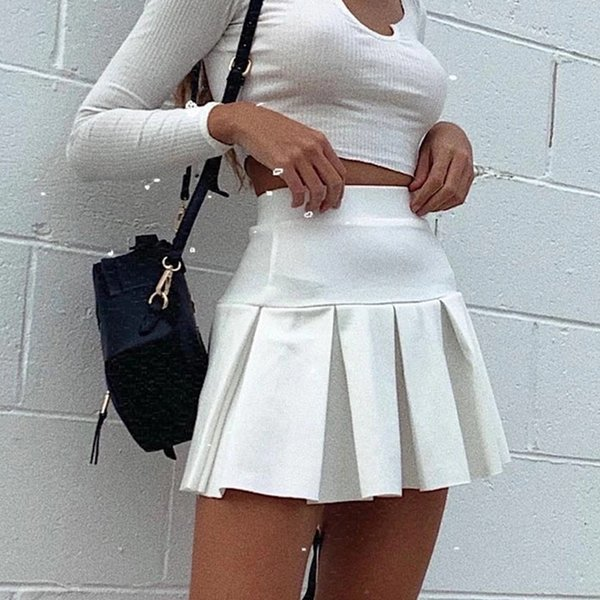 Autumn and Winter Casual Skirt for women 2021 New Elastic High Waist Pleated Skirt Solid Color All-match Pleated Mini Skirt
