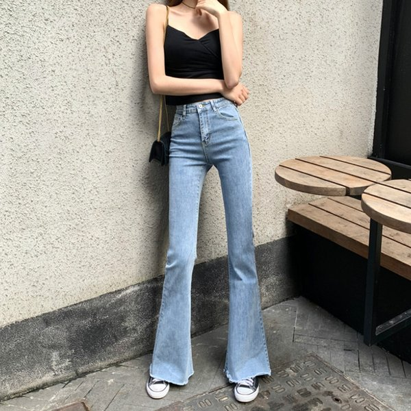 WQJGR Spring and Summer 2021 Elastic High Waisted Jeans Women Flare Pants Full Length Mom Jeans Blue and Black Pants Women
