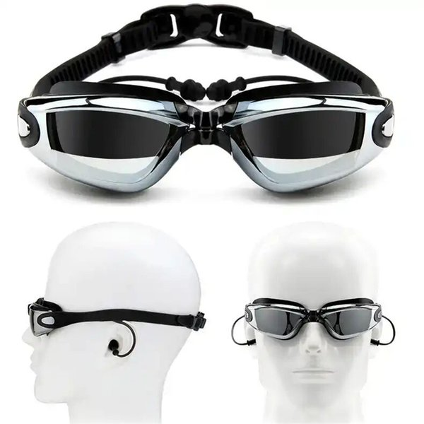 best selling Myopia Swimming Goggles Earplug Professional Adult Silicone Swim Cap Pool Glasses anti fog Men Women Optical waterproof Eyewear