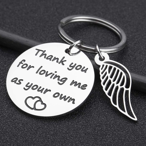 10Pieces/Lot Step Mom Dad Keychain Adoption Gift from Stepchild Adoptive Parent Thank You for Loving Me As Your Own Birthday Keyring Pendan