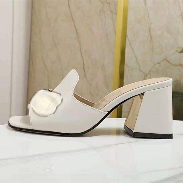 best selling 2021 fashion metal buckle leather low heel sandal designer luxurys women's size 34-41