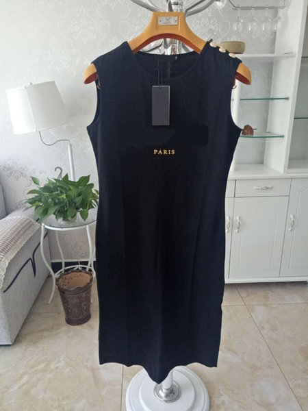 best selling Women Casual Dresses Classic Letter Pattern Print High Quality Gold Button Women's Active Style Summer Sleeveless Dress