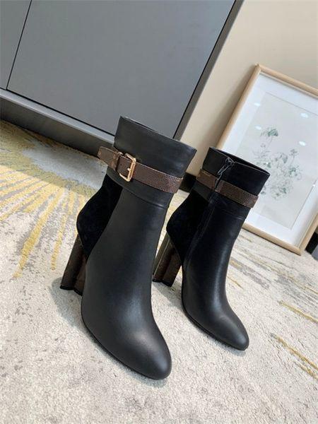 High heeled Martin boots Winter Coarse heel Desert leather High heel boots Lace up high heels Large size 35-41