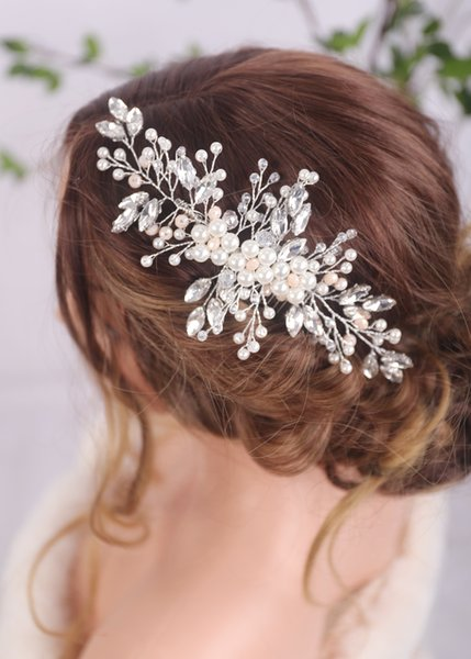 Silver Rhinestones Bridal Hair Comb Wedding Silver Hair Jewelry Hair piece Prom and Party Accessories for Women