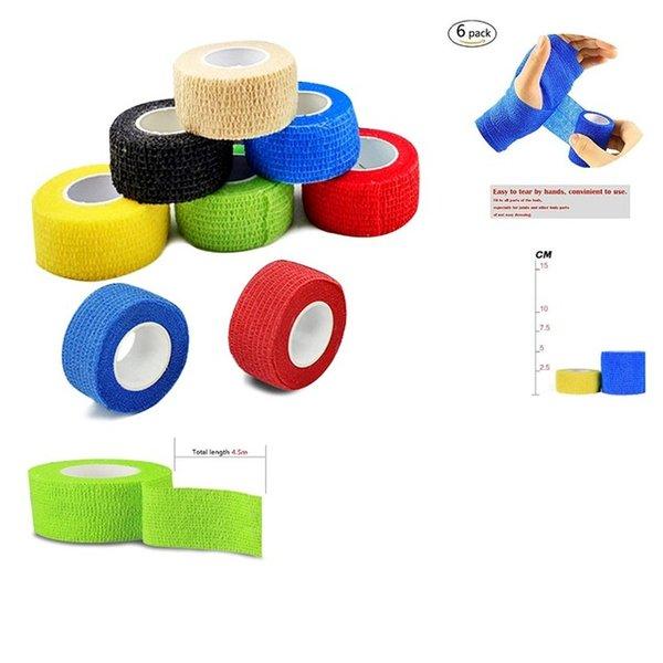 Ports Entertainment 6 Rolls 4,5m Sport Elastoplast Selbstklebende zusammenkohäsive Wrap Verband flexible Stretchband athletisch starke elastische ...