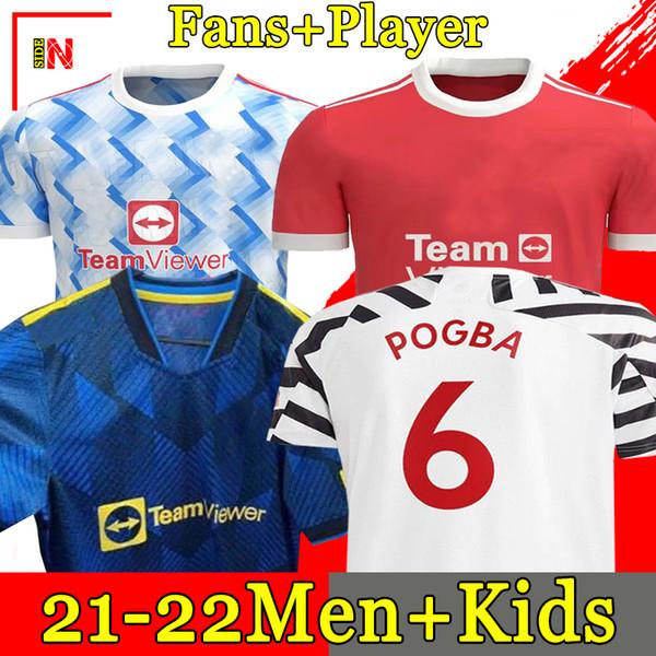 best selling Manchester 2020 2021 soccer jerseys UNITED CAVANI UTD VAN DE BEEK B. FERNANDES RASHFORD football shirt 20 21 man + kids kit HUMANRACE fourth