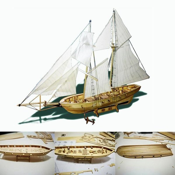 best selling Kuulee 1:100 Scale Wooden Wood Ship Kits DIY Model Home Decoration Boat Gift Toy for Kids Sailboat Mould Y200428