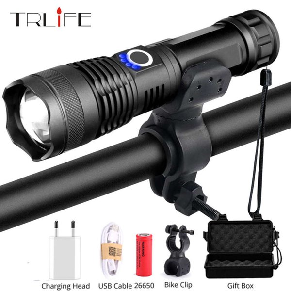 top popular Tactical LED Flashlight Bike Light Bicycle Lamp Hunting Rading XHP50 Torch Rechargeable USB Zoom 5 Mode Use 18650 26650 201207 2021