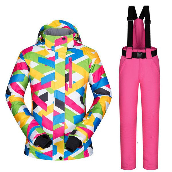 best selling Fashion High Quality Women Ski Suit Female Snow Jacket and Pants Windproof Waterproof Colorful Clothes Snowboard Winter Dress