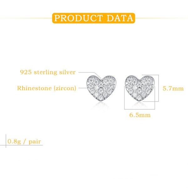 Cheap Stud 925 Sterling Silver Stud Earrings With Cubic Zirconia Hearts Korea Women's Fashion Jewelry Cute Shiny Beautiful Small Earrings