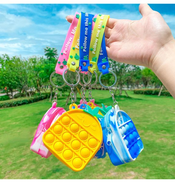 best selling New DHL Fidget Toys wallet Pineapple portable decompression Push It Bubble Pencil Case Sensory Autism Special Needs Stress Reliever Squeeze Toy for Kids