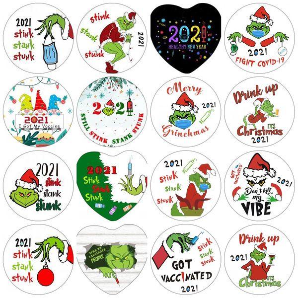 top popular 2021 DHL ship Grinch Quarantine Christmas Ornament Xmas Hanging Ornaments Personalize for Tree Decor Wearing Mask Designer CS06 2021