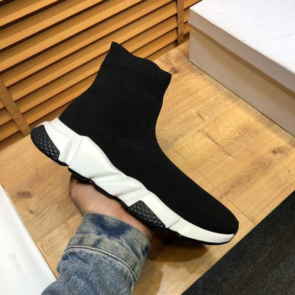 top popular 2021 Casual Sock Shoes Oversized Comfort Sole Mens Womens Platform Trainers Hommes Leather Trainer Black Glitter Knitted Chaussures Triple Espadrilles 2021
