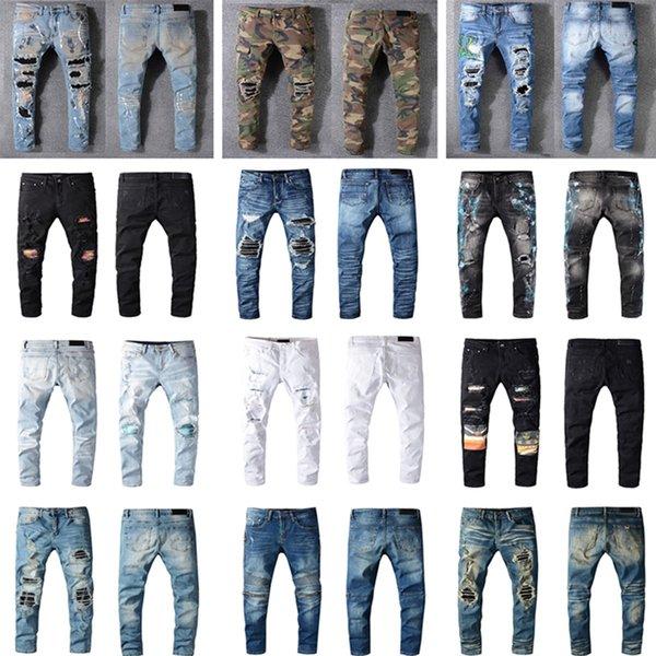 best selling Luxurys Designers Jeans Distressed France Fashion Pierre Straight Men's Biker Hole Stretch Denim Casual Jean Men Skinny Pants Elasticity Male Ripped Trousers