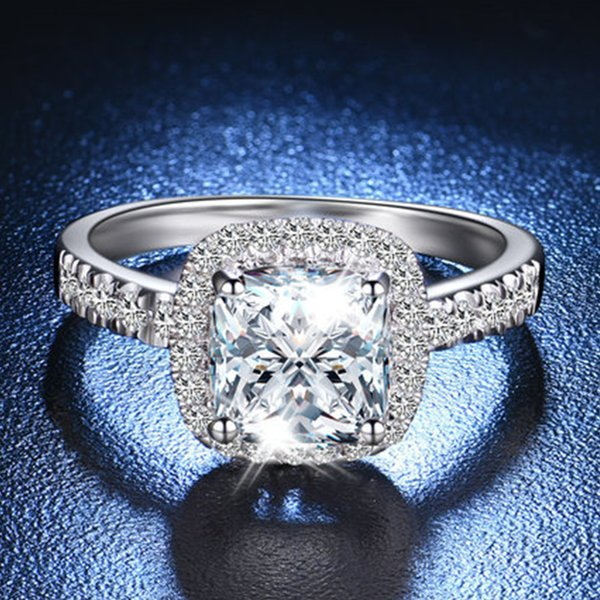 D Color VVS1 2CT Cushion Engagement Rings for Women Sterling Silver NSCD Simulate Diamond Ring Anniversary Gift 18K White Gold Plated