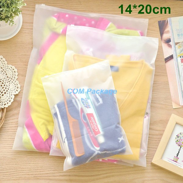 """14*20cm (5.5*7.9"""") Matte Clear Plastic Storage Bag Zipper Seal Travel Bags Zip Lock Valve Slide Seal Packing Pouch For Cosmetic Clothing"""