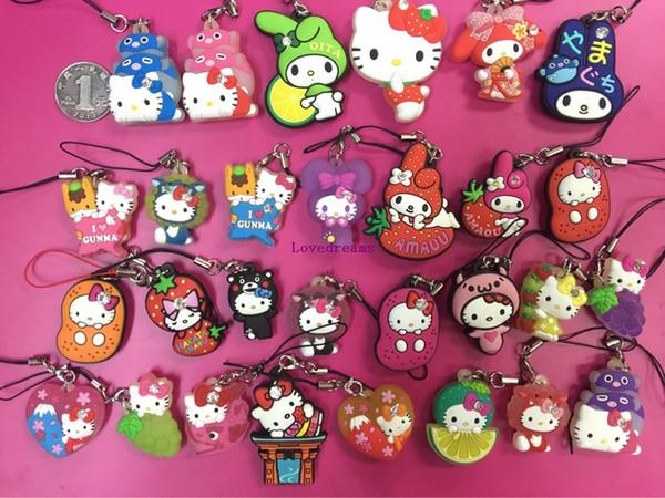 100 pcs/lot Cartoon Anime Hello Kitty pvc figure random mix Phone Straps/keychain pendant toys free shipping