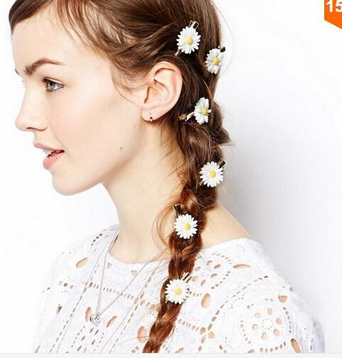 10%off 10pcs Women Girls Romantic Small White Daisy Hair Clip Fabric Hair Accessories Gold Hairpins for Hair HG139