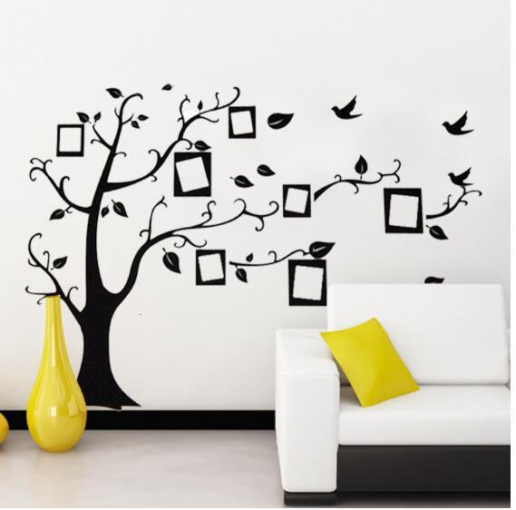 Schwarz 3D DIY Foto Baum PVC Wandtattoos / Adhesive Familie Wandaufkleber Wand Kunst Home Decor