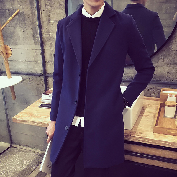 Wholesale- Cape For Men Long Coats Denim Jacket Snow Jackets Slim Double Breasted Suit Mens Trench Winter Coat Sapphire Wool Yellow Man F20