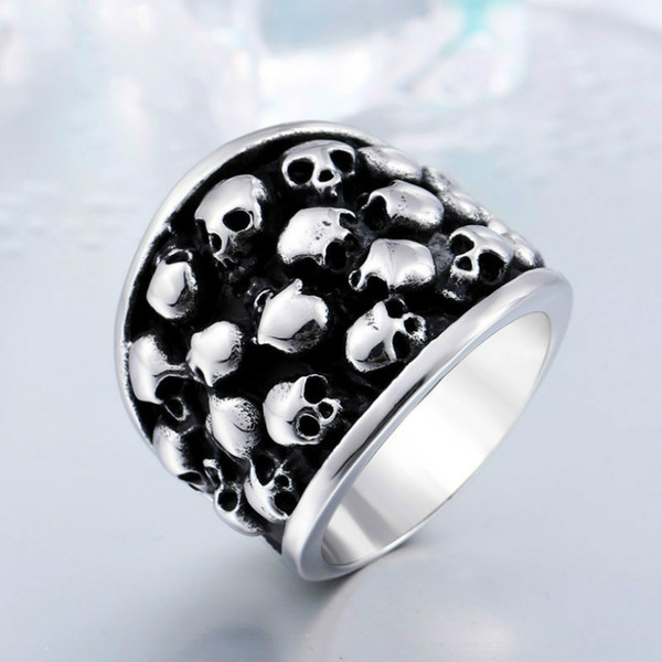 Rock Roll Punk Unique Heavy Gothic Black Silver Color Horror Skulls Stainless Steel Mens Ring US Size