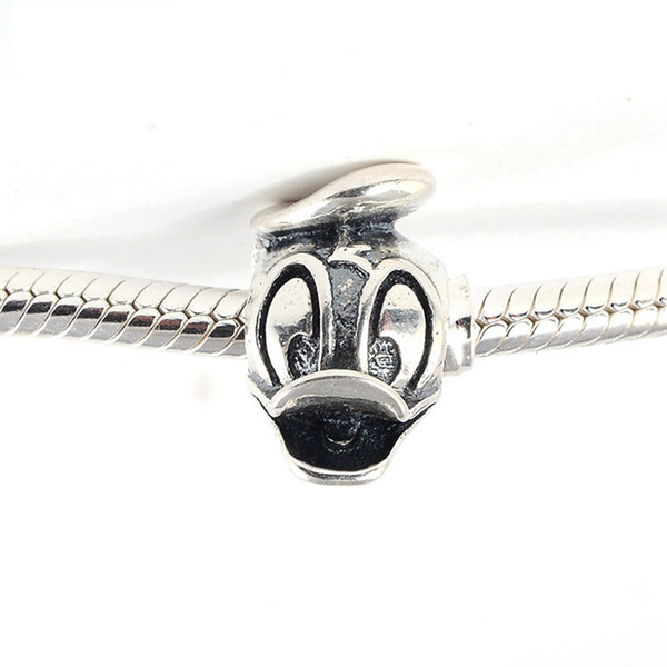 5 pcs/Lot Disny S925 sterling silver duck charms beads new fits pandora style bracelets Duck Portrait Charm 792136 H6