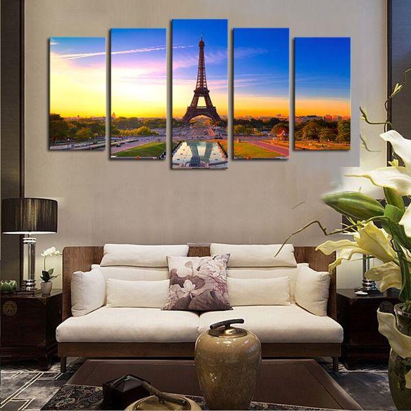Luxry Unframed 5 painéis Torre Eiffel Moderna Casa Decoração Da Parede Da Pintura Da Arte Da Lona HD Impressão Pintura Da Parede Da Lona Imagem Para Casa