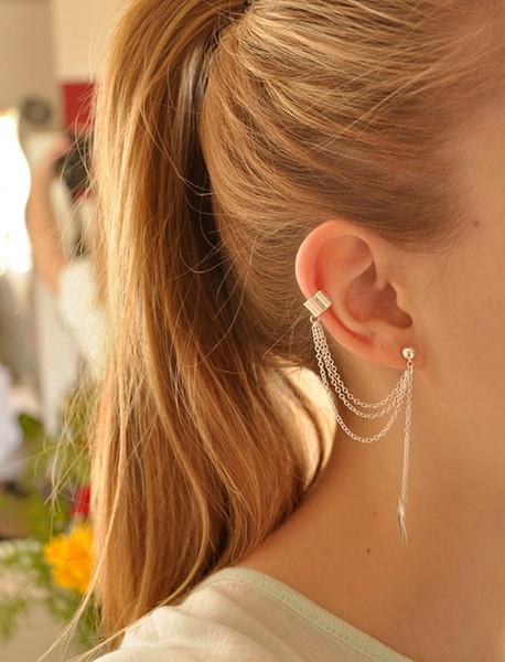 best selling Jewelry Clip Earrings Punk Style Leaves Gold Sliver plated Tassels Chain Leaf Fish Charms Clip Earrings Metallic Ear Wrap Ear Cuff earrings