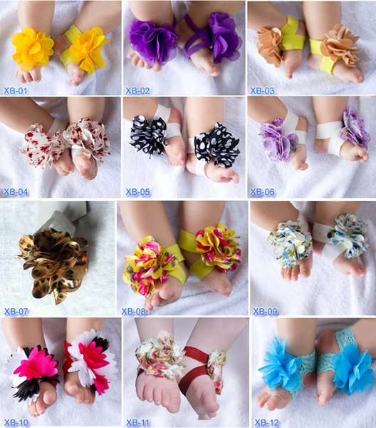 New Design Girls Baby Infant Newborn Barefoot Sandals Shoes Booties with Flowers Cochet 24 colors for choices