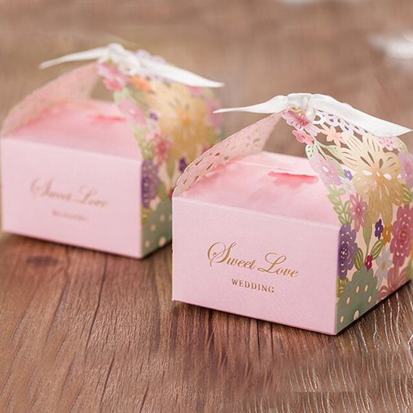 Wedding Party Candy Box with Ribbon Pink Romantic Wedding Favor Decoration Floral Laser Cut Sweet Love Wedding Chocolate Box