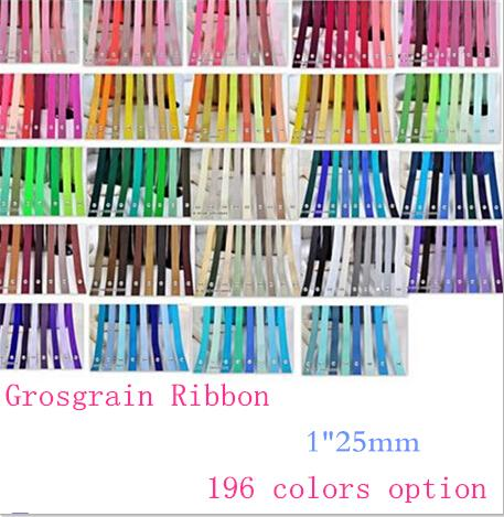 """best selling 15% off hot sale 1"""" 25mm Solid Colors Grosgrain Ribbon for DIY bows hair accessories Craft Sewing Party gift Packaging,200 Yards 196colors"""