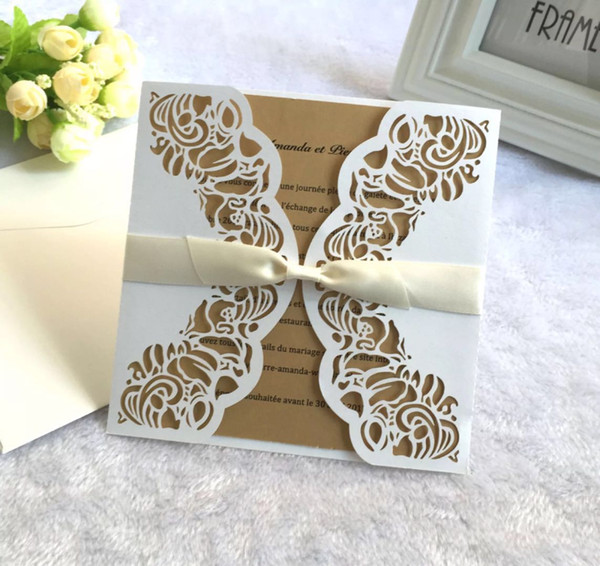 affordable laser cut wedding invitations bachelorette party invitation cards with envelope and blank card 200pcs lot free shipping