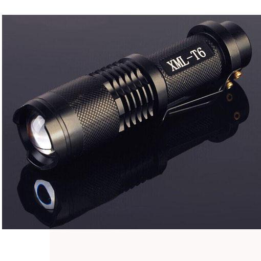 UltraFire 2000 Lümen CREE XML XM-L T6 LED Taşınabilir Zumlanabilir Ayarlanabilir Odak 18650 pil El Feneri Torch Lambası Işık (SK88) SIYAH