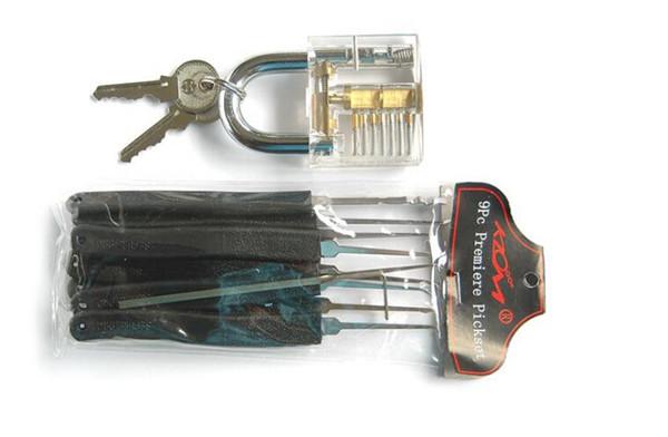 5 set / lote transparente bloqueio preto 9 peça klom lock pick juntos prática conjunto de bloqueio frete grátis suprimentos de serralheiro profissional
