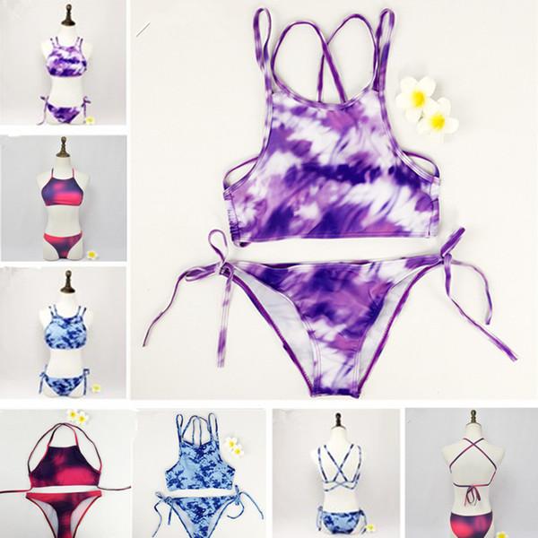 2016 Maiô Verão Beachwear Sexy Moda Feminina Impresso Bandagem Esporte Biquíni Set Acolchoado Sutiã Maiô Swimwear