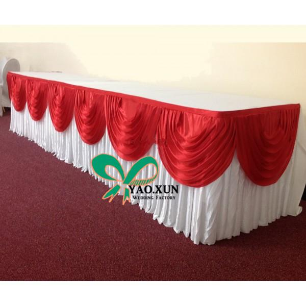 top popular Free Shipping White Color Ice Silk Table Skirt With Red Swags For Wedding Decoration 76cm*3m 2020