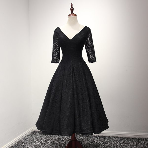Black Lace Ball Gown Evening Dress Tea Length 2018 Half Sleeves Evening Gowns Lace Up Back