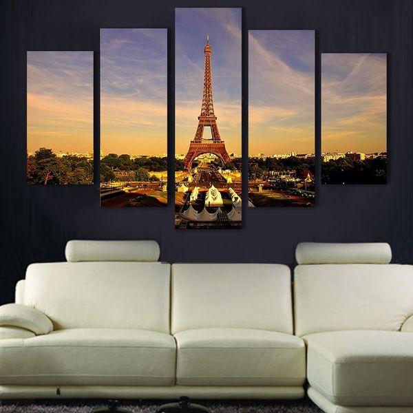 Arte de la pared 5 piezas pintura al óleo de la torre Eiffel pintura impresa pintura al óleo sobre lienzo decoración del hogar decoración para el hogar en la lona