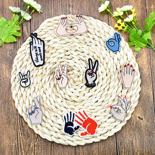 10 PCS Hand Gestures Embroidered Patches for Clothing Iron on Transfer Applique Patch for Bags Jeans DIY Sew on Embroidery Sticker