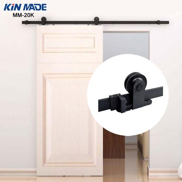 KIN MADE MM20K-Rustic Top Mounted Sliding Barn Door Hardware Wooden Door Fittings 4.1ft/5ft/5.2ft/6ft/6.6ft/8ft